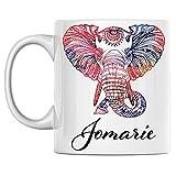 N\A Taza de Elefante Personal con Nombre Jomarie, Taza de café de cerámica Blanca Impresa en Ambos Lados, cumpleaños para él, Ella, niño, niña, Esposo, Esposa, Hombres y Mujeres