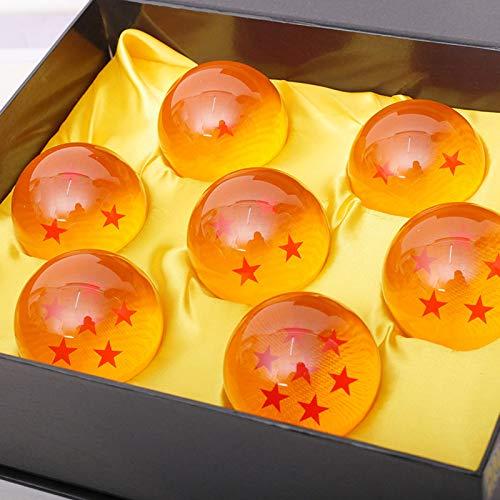 JAWSEU Bolas del Dragón, 7 PCS Dragon Ball, Bola de Cristal Transparente, Decoración Anime 4.3CM