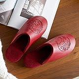 Cxypeng Peluche Zapatos Memory Foam,Invierno casa de Felpa de tacón Alto Antideslizante Impermeable de Cuero de PU zapatillas-37-38_Red,Zapatillas De Casa Mujer Pantuflas De Lujo