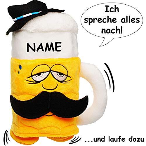 alles-meine.de GmbH NACH sprechender Bierkrug - inkl. Name - Ich spreche nach & laufe dazu - aus Stoff / Plüsch - mit Sound & Bewegung - spricht plappert - Sprachaufzeichnung - l..