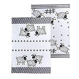 SPOTTED DOG GIFT COMPANY Lot de 2 Torchons de Cuisine Coton, Serviettes de Cuisine, Lavable 50 x 70 cm, Motif Mouton, Cadeau pour Amateurs des Animaux