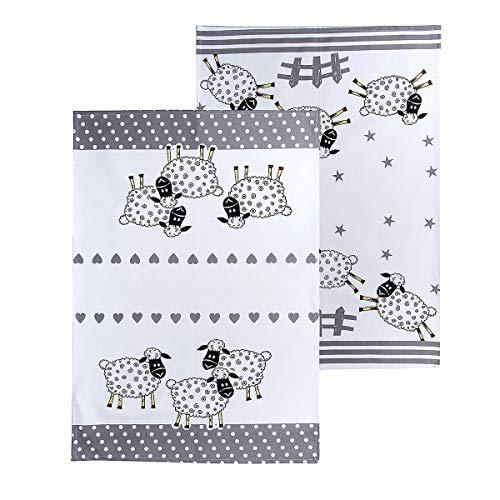 2er Set Küchentücher Baumwolle, Abtrockentücher Küche, Schwarz und weiß 50 x 70 cm, Schaf-Motiv, Schaf Geschenk für Tierliebhaber