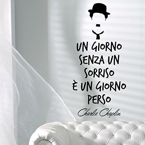 Adesiviamo Un giorno senza un sorriso bowler hat Charlie Chaplin wallsticker adesivo da parete muro