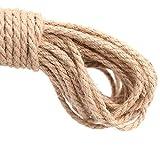 Cuerda gruesa y resistente de yute natural de 20 metros, 3 capas, cuerda perfecta para artesanía y decoración, 5 mm de grosor