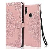 achoTREE Kompatibel für Huawei Y6 2019 Hülle, PrenLeder Flip Handyhülle für Huawei Y6 2019, mit Kartenfach & Ständer - Rose Gold
