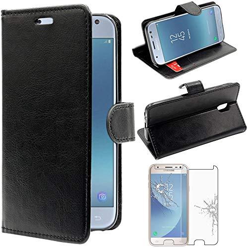 ebestStar - Cover Compatibile con Samsung J3 2017 Galaxy SM-J330F Custodia Portafoglio Pelle PU Protezione Libro Flip, Nero + Pellicola Vetro Temperato [Apparecchio: 143.2 x 70.3 x 7.9mm, 5.0'']