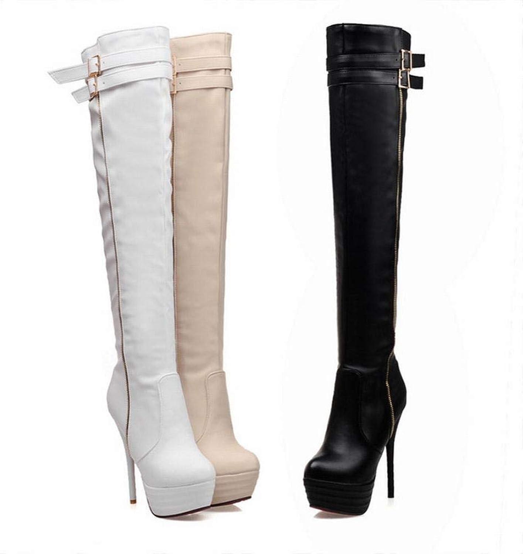 XQY Stiefel Der Herbst- Und Winterfrauen - Dicke Warme Weibliche Stiefel Hohe Stiefel Dünne Absatzfrauenstiefel   37-44