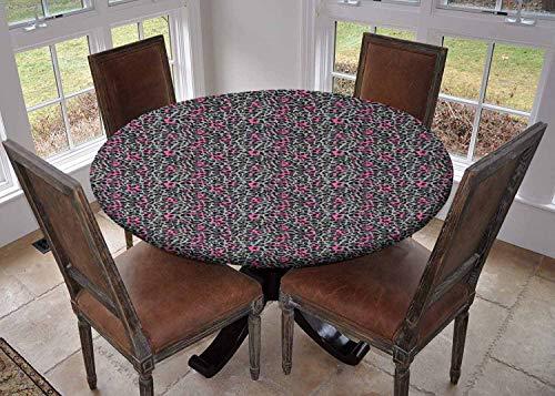 Rond tafelkleed keukendecoratie, tafelkleed met elastische randen, Verspreid met Abstract Wit Esdoorn Zaden Bladverliezende Bladverliezende Bladleer Herfst Botany Bleke Oranje en Wit, kampeertafelkleed