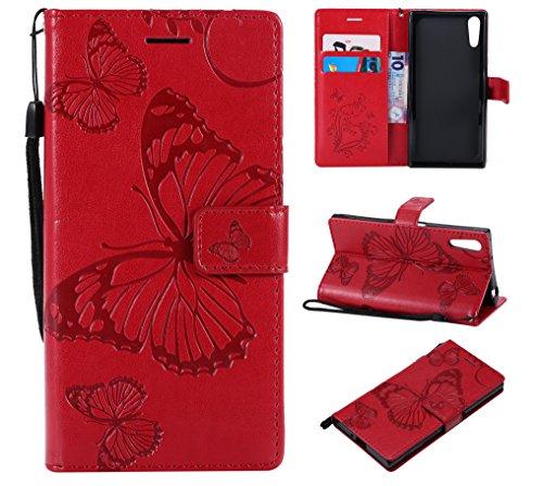 Hülle für Sony Xperia XZ/XZs Handyhülle Schutzhülle Leder PU Wallet Bumper Lederhülle Ledertasche Klapphülle Klappbar Magnetisch für Sony Xperia XZ/XZs - ZIKT042293 Rot