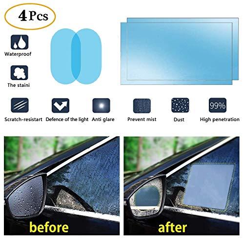 oFami Auto Rückspiegel Wasserdicht Schutzfolie, Anti-Fog Wasserdicht Hoch Clear Schutzfoliemicro-Nano Beschichtung Regendicht und Wasserdicht Hoch Clear Schutzfolie, [2 Pack] (Oval+Rec(200&150))