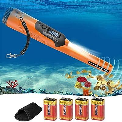 Metal Detector Pinpointer IP68 Waterproof High Sensitivity Metal Detector with LCD Display& Belt Holster Treasure Hunting Tool Accessories for Adult and Kids (Three Mode-Fully Waterproof Pinpointer)