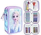 Cerdá - Estuche Plumier Triple con Rotuladores Giotto de Frozen 2 con Lentejuelas - Licencia Oficial Marvel Studios, Multicolor, 12.5 x 19.5 x 6.5 cm