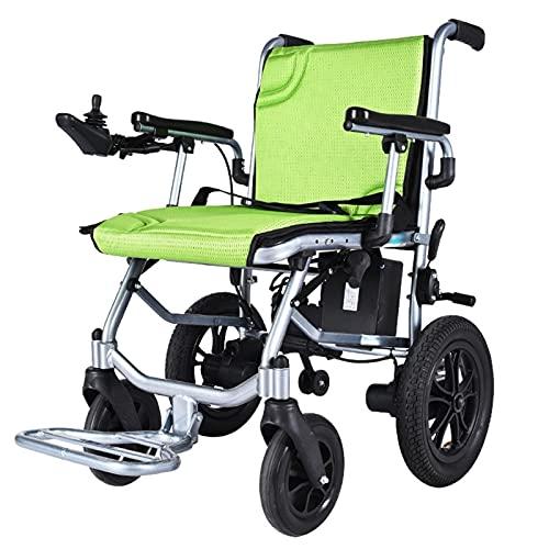 LFLLFLLFL Elektrorollstuhl, Faltbarer Rollstuhl Erwachsene Reise Elektrischer Rollstuhl Leichtweiß Faltbare Aluminiumlegierung Rahmen Atmungsaktives Kissen Rückenlehne Einhändig