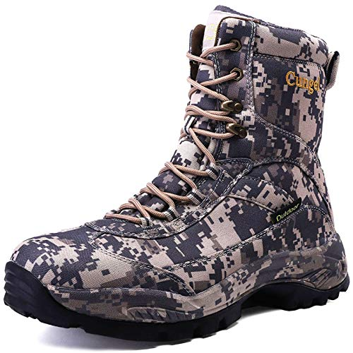 cungel Men's Hunting Boot 8-INCH Camouflage Timber Waterproof Hunter Shoes Forest Boots Jungle Anti-Slip Lightweight Breathable Durable Fishing Hiking Working Field Hunting