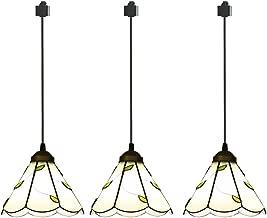 ANYE 3-Pack H-Type Track Light Pendants Tiffany Retro Lighting Nordic Retro Art Handmade Glass Shade Lighting Chandelier Bulb Not Included GD-TB0297x3P