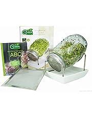 Green SEEDS es un Juego de 1 Frasco de 1000 ml, para Hacer brotes de Soja, con Tapa de Rejilla de Acero Inoxidable, Soporte, tazón de cerámica + ABC de brotes Gratis [E-Book]