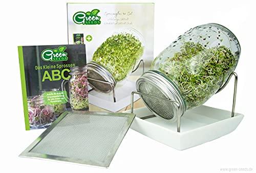 Green SEEDS Sprossenglas Keimglas 1er Set + Kressesieb | 1000ml mit hochwertigem Edelstahl-Gitterdeckel, Ständer, Keramikschale + Sprossen-ABC [Druckversion]