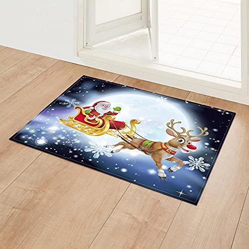 Impresión De Alfombrillas Felpudo con Alfombra Configuraciones Navideñas para Entrada Alfombras De Armario Dormitorio Cocina Decoración del Hogar Felpudo De Árbol De Navidad