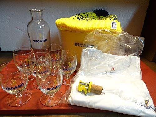 RICARD 6 Gläser 1/2 Sonne + 1 Karaffe + 1 Eiseimer + 1 Mülleimer + 1 Messbecher