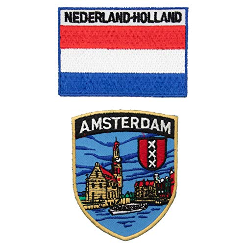 A-ONE Aufnäher mit Amsterdam-Flagge, zum Aufnähen & Aufbügeln, bestickt, für Taschen & Rucksäcke, 2 Stück
