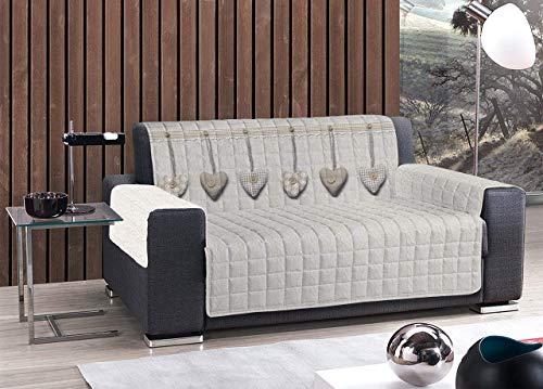 HomeLife – Cubre sofá con Corazones Colgantes – Protector de sofá Antideslizante de algodón – Protector Acolchado contra el Polvo, Las Manchas y el Desgaste – 100% 3 plazas, Beige
