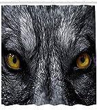 ABAKUHAUS Auge Duschvorhang, Wilder Wolf Gefährlicher Säugetier, mit 12 Ringe Set Wasserdicht Stielvoll Modern Farbfest und Schimmel Resistent, 175x200 cm, Gelb Weiß Schwarz