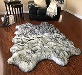 LAMBZY Faux Sheepskin Super Soft Free Shape Silky Shag Rug, Luxury Shaggy Silky Plush Carpet for Bedrooms Rugs Living Room Sofa Floor Rugs (4 Pelts 4'x6', 120cm X 180cm White with Black Tips)