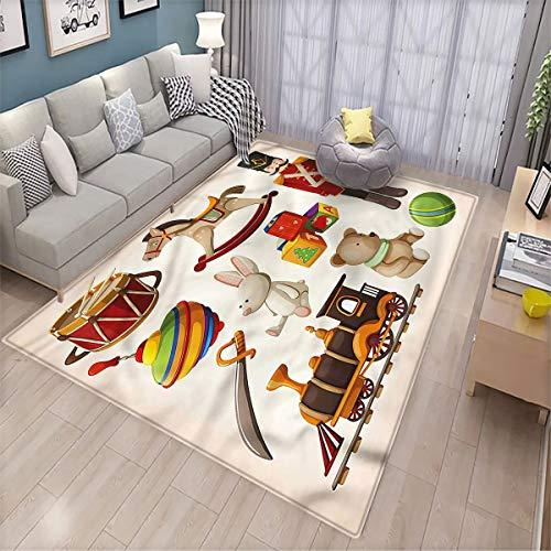 Kids Pet Floor mat Wooden Toy Rocking Horse Drum Super Soft Velvet Floor mat 6.6'x8'
