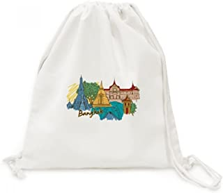 Thailand Bangkok Watercolor Canvas Drawstring Backpack Travel Shopping Bags