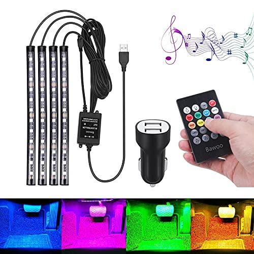 Bawoo, Led Coche Interior Impermeable, Led Iluminación Interior del Coche Llevaron, El Color de la Decoración de la Lámpara para El Coche con El Encendedor del Cigarro del Cargador del USB