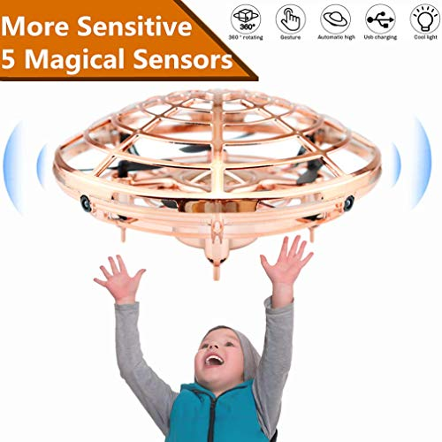 Drones for Kids,UFO Flying Toys for Boys Gifts, Hand Operated Self Flying Drone for Beginner with Obstacle Avoidance, 2 Hover Speed Mode Flying Ball Toys for 4-5 Year Old Boys