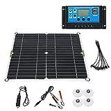 Nephit Kit de panel solar de 200 W con cargador de batería de 12 V y controlador de 100 A para caravana o barco