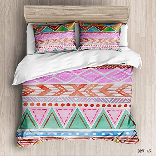 CURTAINSCSR Duvet Cover King Size Watercolor Stripes Printed Polyester Bedding Set with Zipper Closure Quilt Cover Set+2 Pillowcases Easy Care Anti-Allergic Soft & Smooth Apply to Boy Girl Bedroom