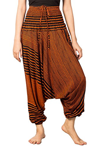 Lofbaz Damen Streifen Gedruckt Smocked Taille Harem 2 in 1 Overall Hose Orange L