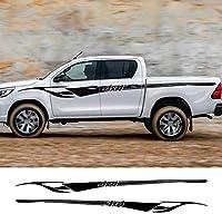 YZU 2ピース自動ドアサイドスポーツスタイリングストライプビニールフィルムトヨタハイラックス車体装飾反射ステッカー車のアクセサリー,カーボンファイバー