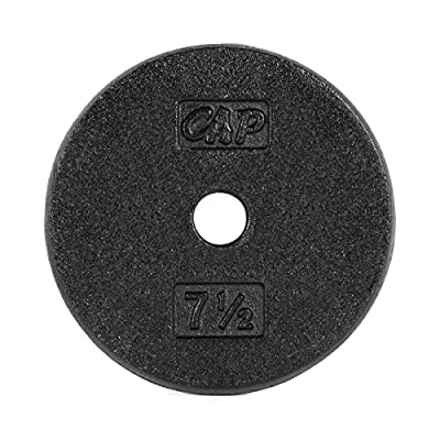 CAP Barbell Cast Iron Standard 1-Inch Weight Plates, Black, 7.5 Pounds
