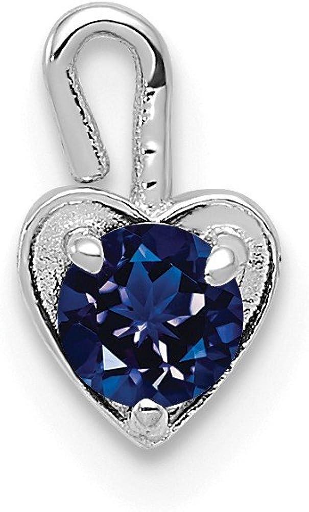 Black Bow Jewelry Sept Synthetic Sapphire 14k White Gold Heart Pendant Enhancer, 5mm