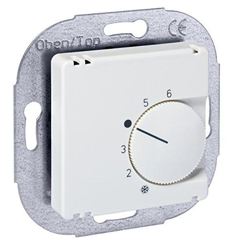 Raumtemperaturregler 230V, Reinweiß glänzend - passend in nahezu alle Schalterprogramme mittels Zwischenrahmen 50x50