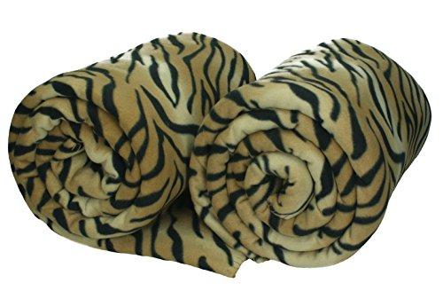 Betz 2 Stück Maxi Fleecedecken Kuscheldecken Größe 140x190 cm Tiger-Muster