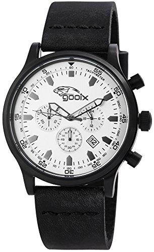 gooix HUA-05893 Uhr Herrenuhr Lederarmband Edelstahl 10 bar Analog Datum Schwarz