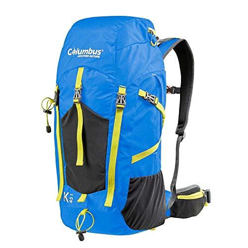 COLUMBUS Mochila K 45 Mochila Ligera y Resistente al Agua Ideal para Senderismo u Otras Actividades al Aire Libre. Incluye Funda para la Lluvia. Capacidad 45 L. Color Azul con Amarillo.