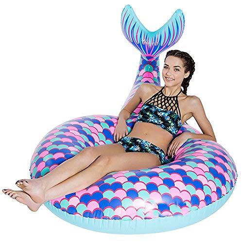 BEUTEY Inflatable Mermaid Swim Ring Unicorn Flamingo Peacock Swimming Circle Pool Float Ride On Pool Raft Beach Toys Summer Floatie Lounge Water Sport Lie Down Toys for Adults Kids (Small)
