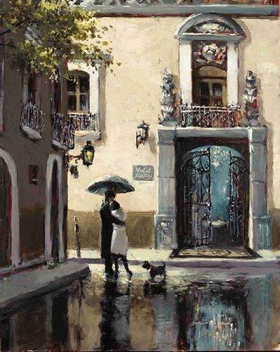 Fertig-Bild - Brent Heighton: Boulevard Hotel 40 x 50 cm Städte Paar Hund Regen Villa Strassenszene Malerei