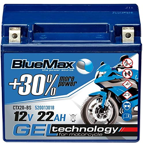 BlueMax YTX20-BS Motorradbatterie GEL 12V 22Ah CTX20-BS Harley 52013 18Ah 20Ah