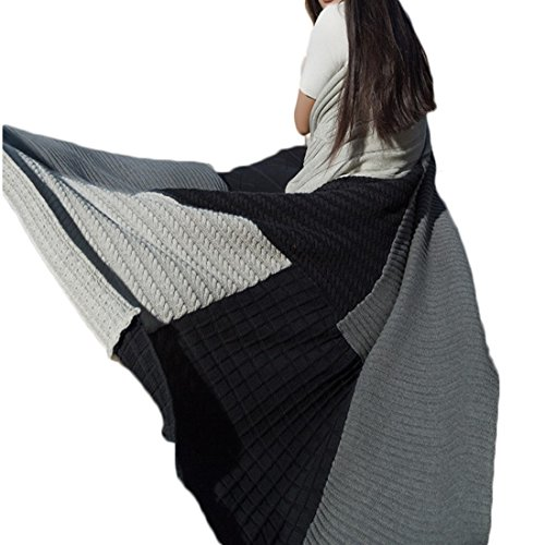 BERYLSHOP Textile Coton Tricot Couture De Couverture Couverture Couverture De Laine Canapé Serviette en Peluche Jeter Couverture Couverture for Canapé (Couleur : Marine, Size : 130cm*170cm)