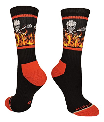 MadSportsStuff Lacrosse Socks with Lacrosse Sticks and Flaming Skull Athletic Crew Socks (Black/Red, Small)