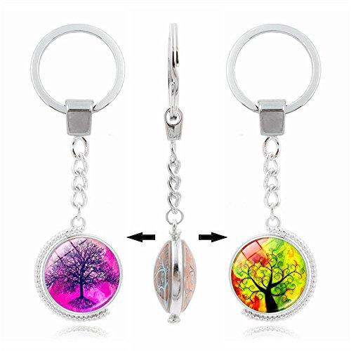 UmerBee Schlüsselanhänger, 1 Stück, Lebensbaum Zeit, Edelsteine, doppelseitig drehbar, Schlüsselanhänger, Geschenk