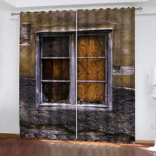 MENGBB Cortina Opaca Microfibra Infantil 240x230cm Ventanas de la casa en ruinas 95% Opaca Cortina aislantes de frío y Calor Decorativa con Ojales Estilo para Salón Habitación y Dormitorio