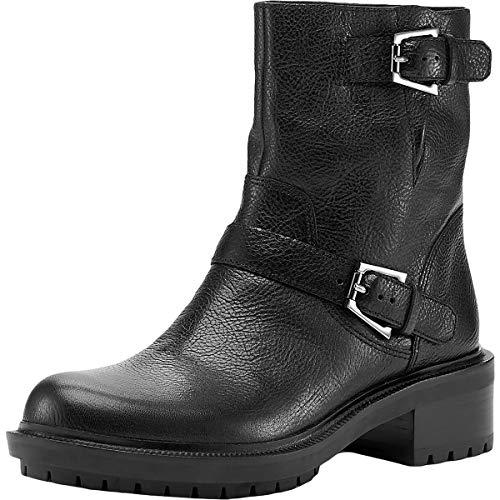 botkier Womens Marlow Leather Side-Zip Motorcycle Boots Black 6 Medium (B,M)