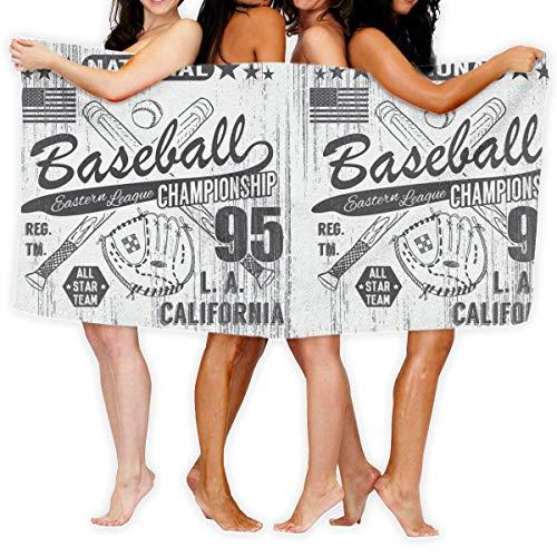 LisaArticles Duschtücher,Gekreuzte Baseballschläger Und Handschuh Adult Beach Towels, Bunte Schöne Frauen Badetücher Für Gym Travel Outdoor,80x130cm